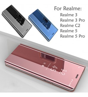 Realme 5 Realme 5 Pro 3 Realme 3 Pro Realme C2 Delight Mirror Flip Pouch Case Cover Casing Stand Mobile Phone Housing