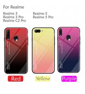 Realme 5 5 Pro Realme 3 3 Pro Realme C2 Aurora Case Cover Casing Tempered Glass Back Housing