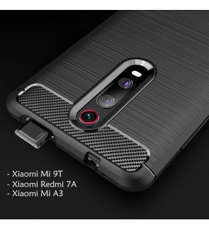 Xiaomi Mi 9T Mi A3 Redmi 7A TPU Silicone Soft Case Cover Casing Brushed Housing