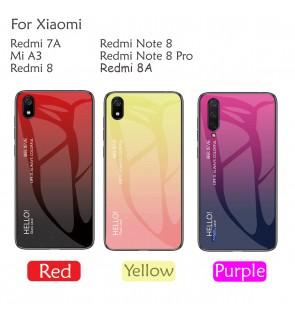 Xiaomi Redmi 8A 7A Mi A3 Redmi 8 Note 8 Note 8 Pro Aurora Case Cover Casing Tempered Glass Back Housing