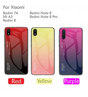 Xiaomi Redmi 7A Mi A3 Redmi 8 Note 8 Note 8 Pro Aurora Case Cover Casing Tempered Glass Back Housing