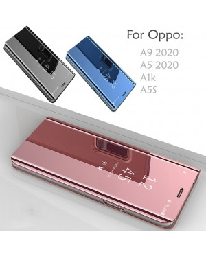 Oppo A9 A5 2020 A5S A1K Delight Mirror Flip Pouch Case Cover Casing Stand Housing PU Leather