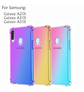 Samsung Galaxy A20S A30S A50S Casing Case Cover Air Bag Anti Shock Rainbow Housing
