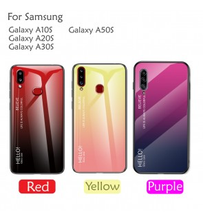 Samsung Galaxy A10S A20S A30S A50S Gradient Aurora Case Cover Casing Tempered Glass Housing