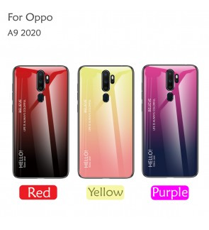 Oppo A9 2020 Gradient Aurora Case Cover Casing Tempered Glass Housing