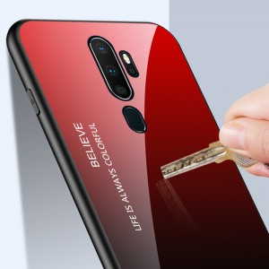 Oppo A9 2020 A5 2020 Reno 2 Oppo A5S Gradient Aurora Case Cover Casing Tempered Glass Housing