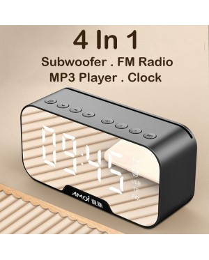 4 in 1 Wireless Bluetooth Speaker Portable Subwoofer With Alarm Clock FM Radio MP3 Player