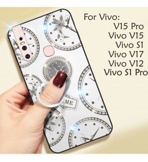 Vivo Y17 Y12 S1 V15 V15 S1 Pro Timer Shining Diamond Cover Hard Back Casing Case Housing With I-Ring