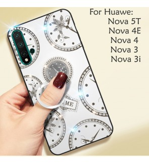 Huawei Nova 5T Nova 4 4E Nova 3 3i Timer Shining Diamond Hard Case Cover Casing Back Housing With I-Ring