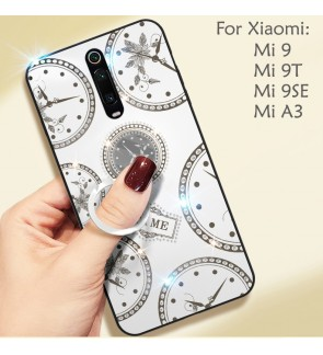 Xiaomi Mi 9 Mi 9SE Mi A3 Mi 9T Timer Shining Diamond Hard Case Cover Casing Back Housing With I-Ring