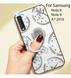 Samsung Galaxy Note 9 Note 8 A7 2018 Timer Shining Diamond Hard Case Cover Casing Back Housing With I-Ring