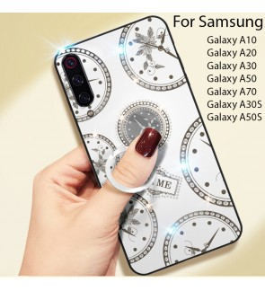 Samsung Galaxy A10 A20 A30 A50 A70 A30S A50S Timer Shining Diamond Hard Case Cover Casing Back Housing With I-Ring