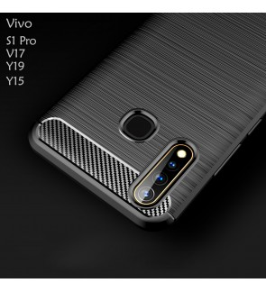 Vivo V17 S1 Pro Y19 Y15 TPU Silicone Carbon Fibre Soft Case Cover Casing Brushed Housing