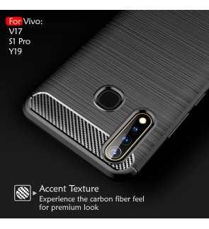 Vivo V17 S1 Pro Y19 TPU Silicone Carbon Fibre Soft Case Cover Casing Brushed Housing