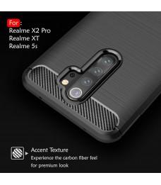 Realme X2 Pro XT Realme 5S TPU Carbon Fiber Silicone Soft Case Cover Casing Brushed Housing