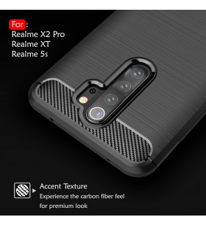 Realme X2 Pro XT Realme 5S 5i TPU Carbon Fiber Silicone Soft Case Cover Casing Brushed Housing