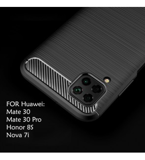 Huawei Honor 8S Mate 30 Mate 30 Pro Nova 7i TPU Carbon Fiber Silicone Soft Case Cover Casing Brushed Housing