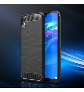 Huawei Honor 8S TPU Carbon Fiber Silicone Soft Case Cover Casing Brushed Housing