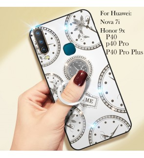 Huawei Honor 9X Nova 7i P40 P40 Pro P40 Pro Plus Timer Shining Diamond Hard Case Cover Casing Back Housing With I-Ring