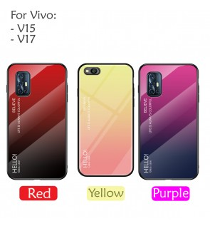 Vivo Y15 V17 Gradient Aurora Case Cover Casing Tempered Glass Back Housing
