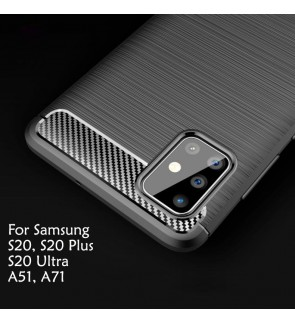 Samsung Galaxy S20 Plus S20 Ultra A71 A51 TPU Carbon Fiber Silicone Soft Case Cover Casing Brushed Housing