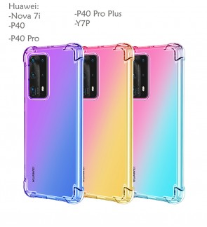 Huawei Nova 7i P40 P40 Pro P40 Pro Plus Y7P Rainbow Antishock Soft Casing Case Cover Air Bag Back Housing