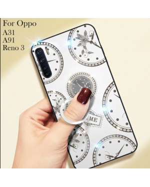 Oppo A91 Reno 3 A31 Timer Shining Diamond Hard Case Cover Casing Back Housing With I-Ring