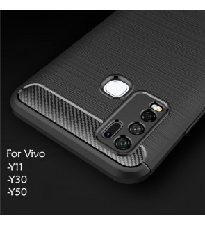 Vivo Y11 Y30 Y50 TPU Carbon Fiber Silicone Soft Case Cover Casing Brushed Housing