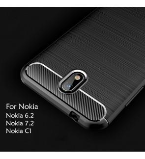 Nokia 6.2 Nokia 7.2 Nokia C1 TPU Carbon Fiber Silicone Soft Case Cover Casing Brushed Housing
