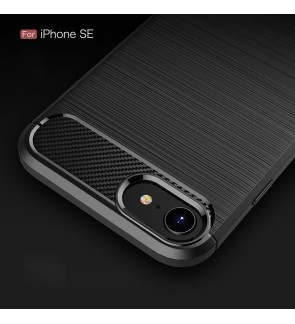 Iphone SE 2020 TPU Carbon Fiber Silicone Soft Case Cover Casing Brushed Housing
