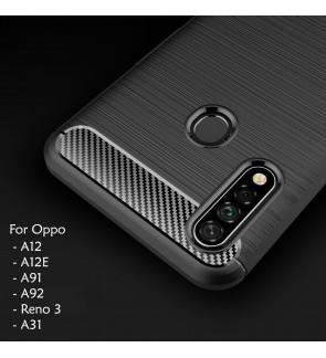 Oppo A91 Reno 3 A92 A12E A12 A31 TPU Carbon Fiber Silicone Soft Case Cover Casing Brushed Housing