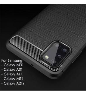 Samsung Galaxy M31 A11 M11 A21S A31 TPU Carbon Fiber Silicone Soft Case Cover Casing Brushed Housing