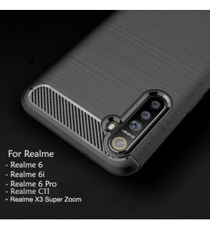 Realme 6 6i 6 Pro C11 Realme X3 Super Zoom TPU Carbon Fiber Silicone Soft Case Cover Casing Brushed Housing