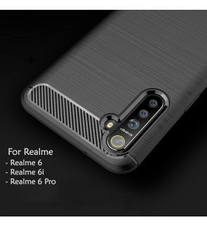 Realme 6 6i 6 Pro TPU Carbon Fiber Silicone Soft Case Cover Casing Brushed Housing