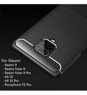 Xiaomi Redmi 9 Note 9 Pro Mi 10 Mi 10 Pro Pocophone F2 Pro TPU Fiber Silicone Soft Case Cover Casing Brushed Housing