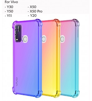 Vivo Y30 Y50 Y11 X50 X50 Pro Y20 Rainbow Anti Shock Soft TPU Back Casing Case Cover Air Bag Housing