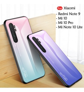 Xiaomi Mi 10 Mi 10 Pro Redmi Note 9 Mi Note 10 Lite Gradient Aurora Case Cover Casing Tempered Glass Housing