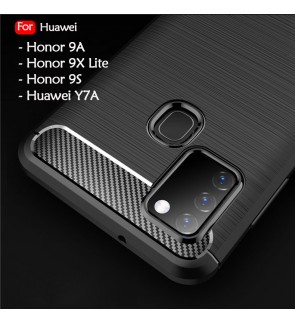 Huawei Y7A Honor 9A Honor 9X Lite Honor 9S TPU Carbon Fiber Silicone Soft Case Cover Casing Brushed Housing
