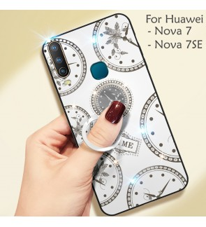 Huawei Nova 7 Nova 7 SE Timer Shining Diamond Hard Case Cover Casing Back Housing With I-Ring
