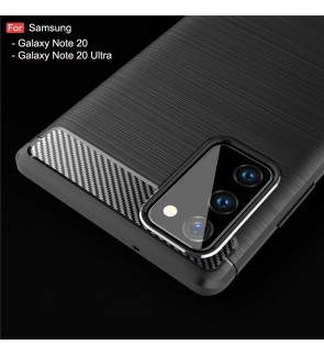 Samsung Galaxy Note 20 Note 20 Ultra TPU Carbon Fiber Silicone Soft Case Cover Casing Brushed Housing
