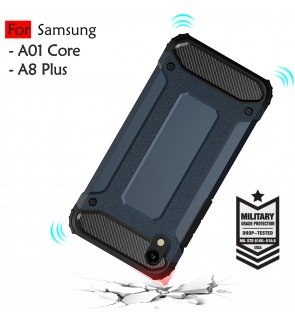 Samsung Galaxy A01 Core A8 Plus Rugged Armor Protection Case Cover Hard Casing Shockproof Housing